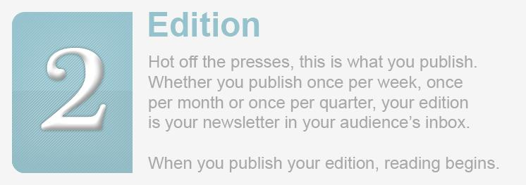 <div>Your newsletter finds it's life when you publish your Editions.</div>